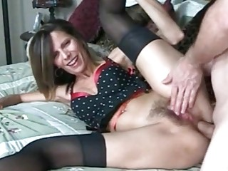 Experienced milf anal rammed in stockings