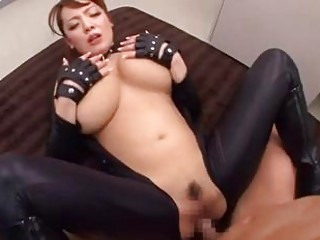 Japanese woman with monster tits swallows a rock solid cock