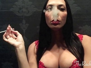Busty milf with big tits smoking passionately