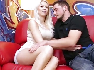 Big cock pounding the tight blonde on casting