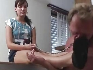 Slave is licking her dirty socks