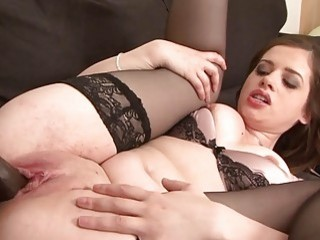Brunette with huge ass and cute stockings has interracial fuck