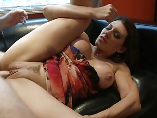 Cute mom with big boobs gets smashed by young guy