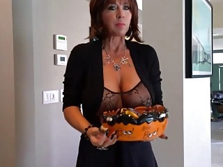 Attractive MILF with big tits fucks with her boy toy