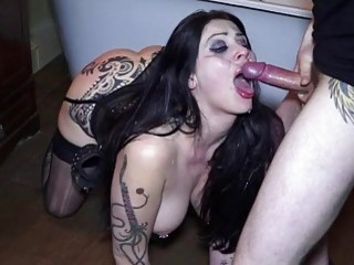 Weird kinky babe gets humiliated and tortured with a dildo