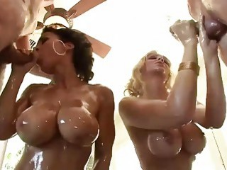 Oily sluts with big tits have group sex with perverts