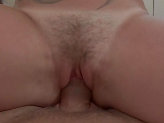 Amateur MILF takes it in her hairy love tunnel POV