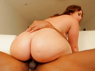 Chubby brunette showing her curves before sex