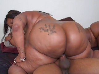 Big black babes with tattoos get their cunts rammed
