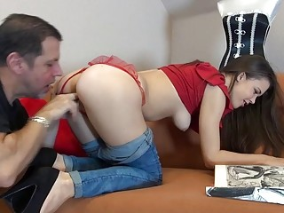 Brunette sweetie gets pounded hard in various positions