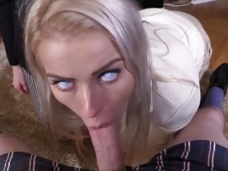 Blonde at the office gets drilled without mercy