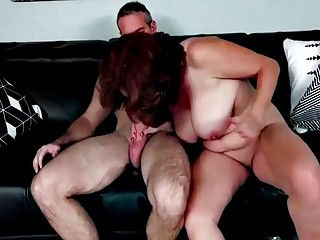 MILF sucks off her hubby before she's nailed