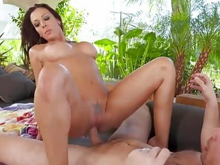 Incredible brunette mom gets pounded outdoors without mercy