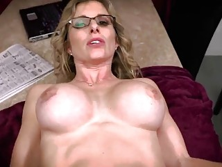 Nerdy  mom helps her stepson with a blowjob and anal