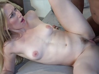 Hot blonde gets nailed by a big black cock