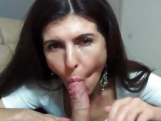 Amazing brunette mom sucks a cock like a pro