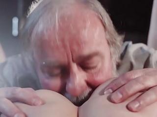 Astonishing babe pleasures an old man's cock