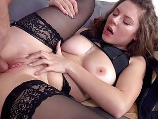 Incredible brunette in lingerie takes a rock-solid cock