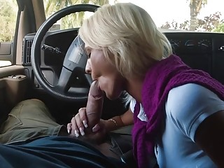 Horny blonde MILF wants some dick in her mouth