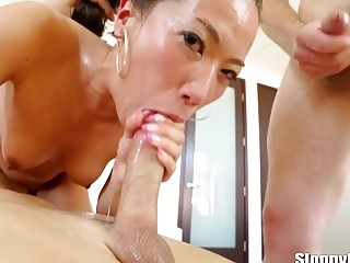 Hardcore group sex for Asian chicks sucking and fucking wildly
