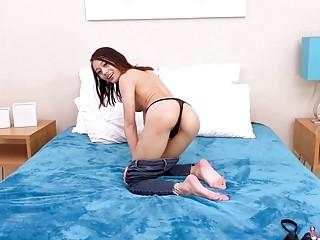 Jasmine Grey sucks dick and fucks hardcore on a bed