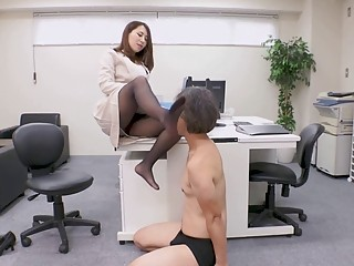 Gorgeous Asian babe rides dick after an erotic office femdom
