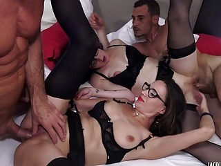 Lavish babes in sexy stockings fucked hardcore during group sex