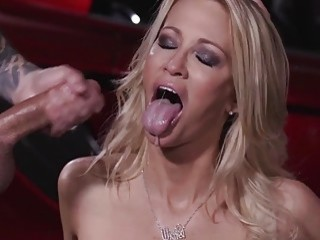 Gorgeous MILF in slutty lingerie adores getting cumshots and facials