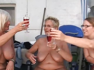 Amateur gets naked and fucks mature pervert at a party