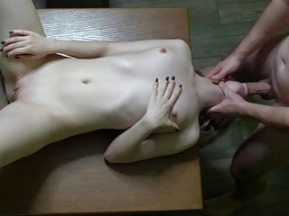 Horny naked amateur gets fucked in her slutty deep throat