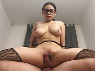 MILF in stockings licks balls and fucks rough and hardcore