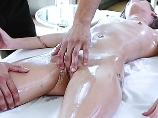 Young naked babe enjoys sensual oiled massage and hardcore fuck