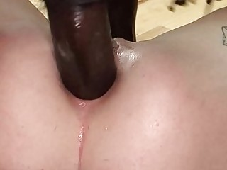 Tattooed naughties love big cock and adore interracial anal fuck